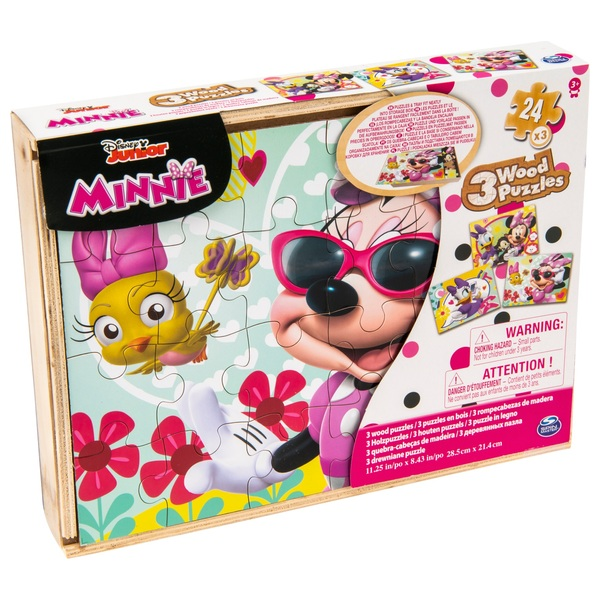 Minnie Mouse Wood 3 Pack Puzzle in Wood Storage Tray
