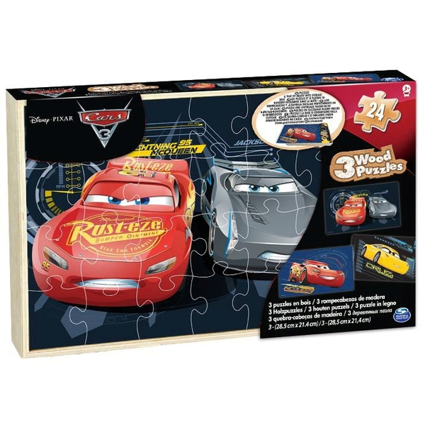Cars 3 - Wood 3 Pack Puzzle in Wood Storage Tray