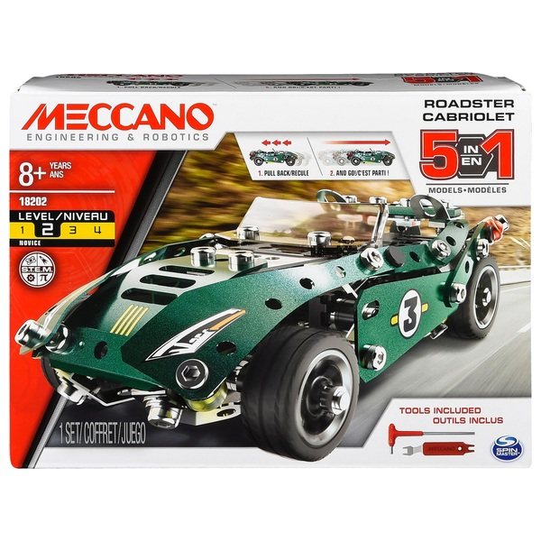 Meccano 5 in 1 Roadster Cabriolet Model Set