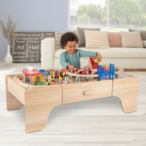 Squirrel Play 100-Piece Wooden Train Set & Table