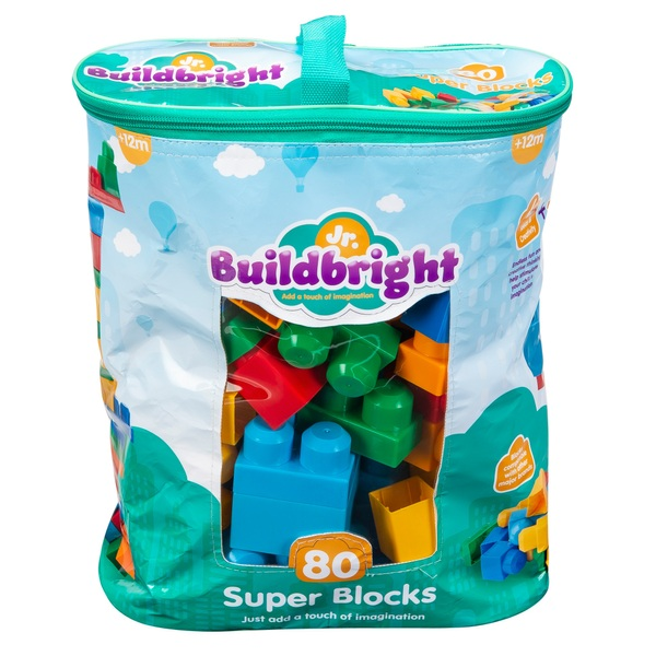 Junior Build Bright Super Blocks 80 Piece Classic Bag