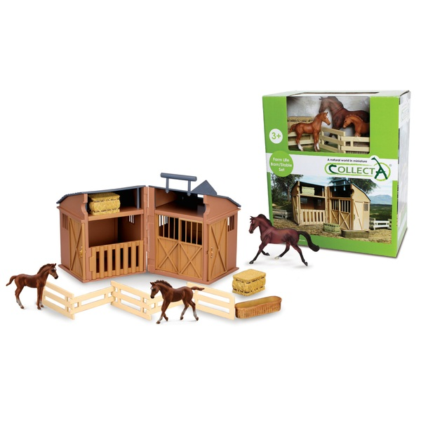 Collecta - Stable Playset with Horses and Accessories- 3 Piece Count
