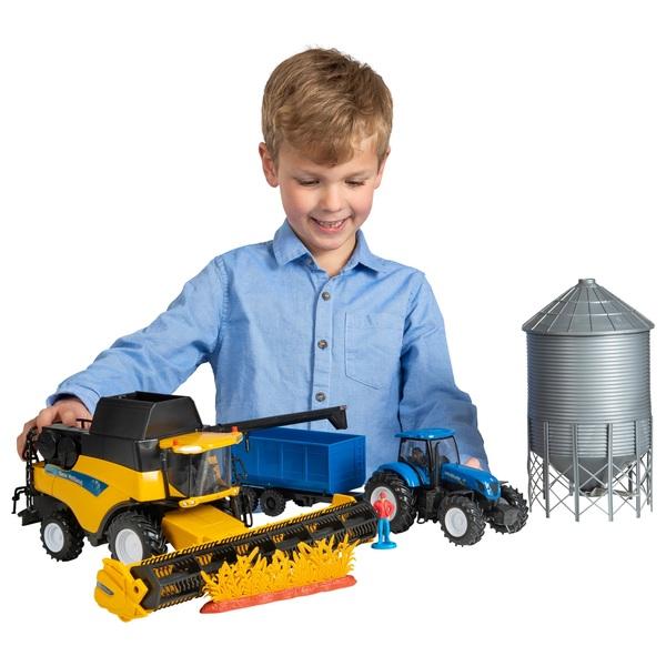 New Holland Harvester, Tractor & Grain Bin Set