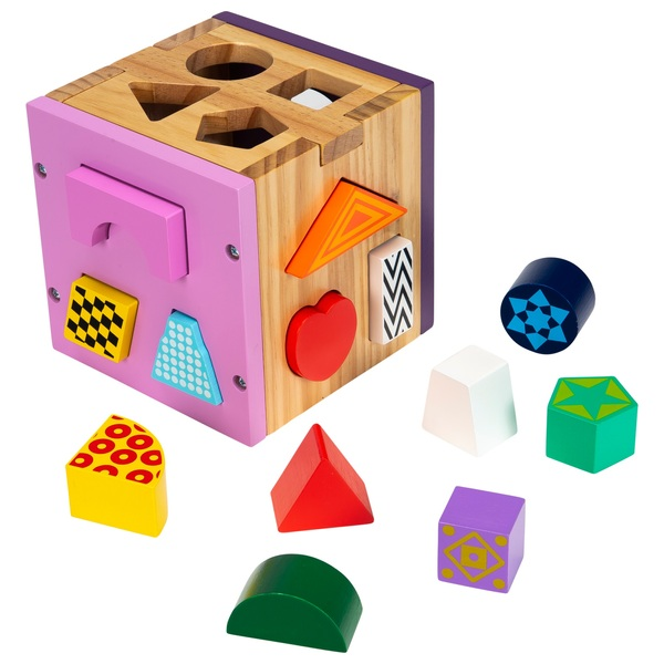 Squirrel Play Wooden Sorting Cube Pink