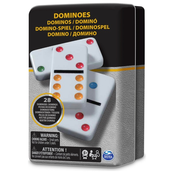 Classic Double 6 Colour Dominoes in Black and Gold Tin Assortment