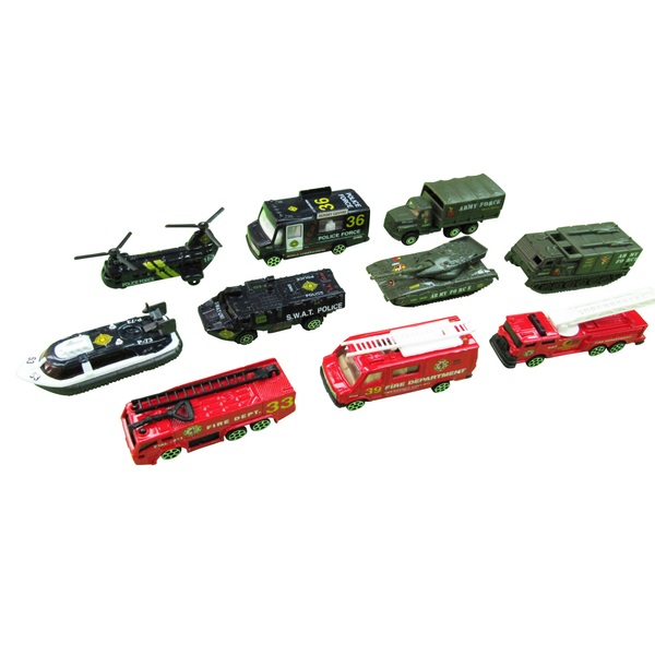 RevZ 10 Piece Diecast Emergency Vehicle Playset