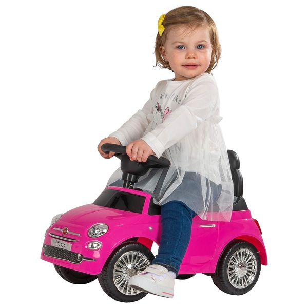 Foot To Floor Ride On Car With Sound Horn Realistic Pink Fiat 500 Girls Gift Toy
