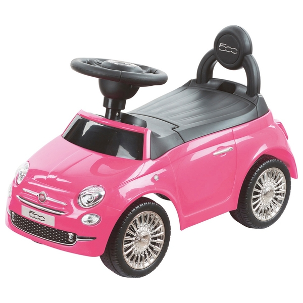 Kids Ride On Toy Car Pink Fiat 500 Boys Girls Toddlers First Balance
