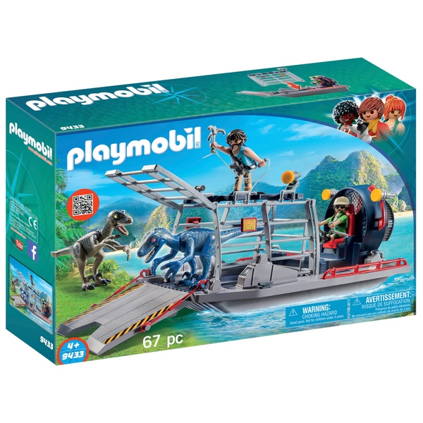 Playmobil 9433 Dinos Enemy Airboat with Raptor