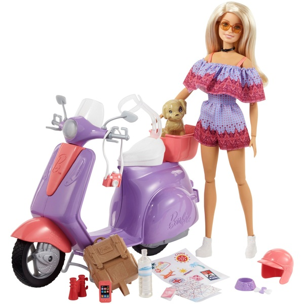 Barbie Pink Passport Scooter with Doll and Accessories ...