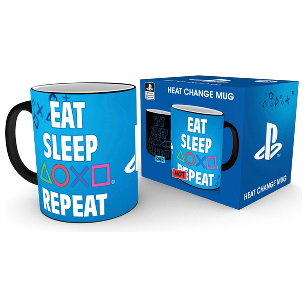 Playstation Eat Sleep Repeat Heat Changing Mug