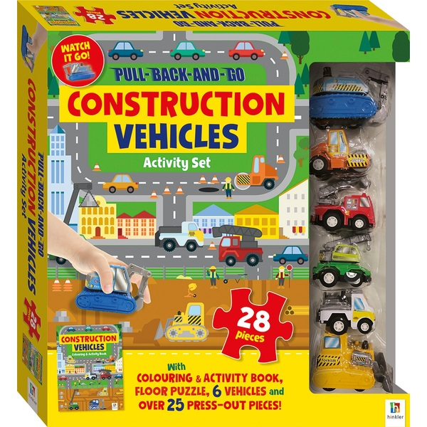 Pull Back and Go Construction Vehicles Activity Set with Book and Floor Puzzle
