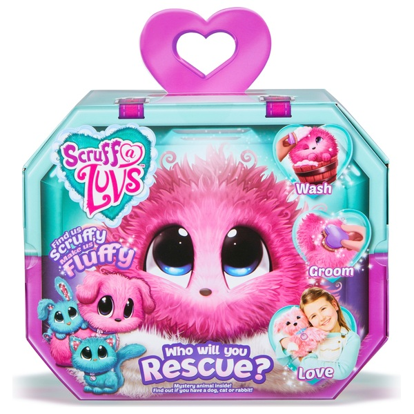 scruff a luvs pink rescue pet soft toy rabbit kitten or puppy