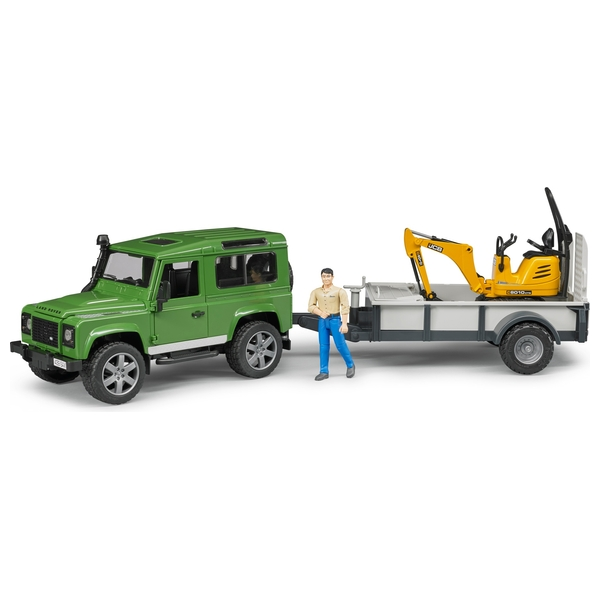 Bruder Land Rover Defender with Trailer, JCB Excavator and Worker