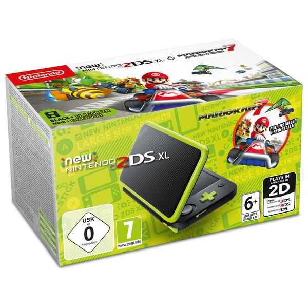 New Nintendo 2DS XL Console Black and Lime Mario Kart Pack