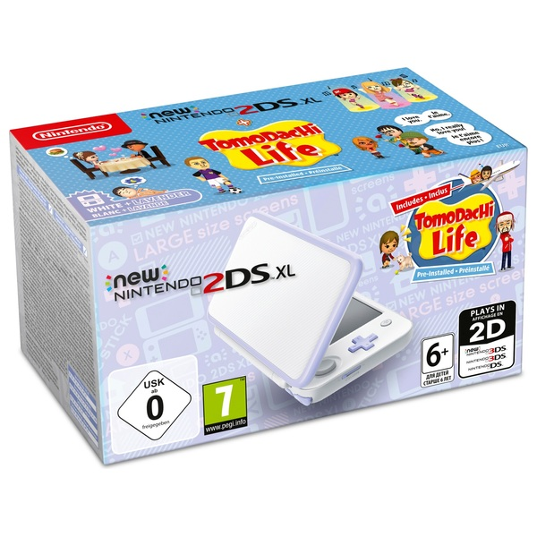 New Nintendo 2DS XL Console White and Lavender Tomodachi Pack