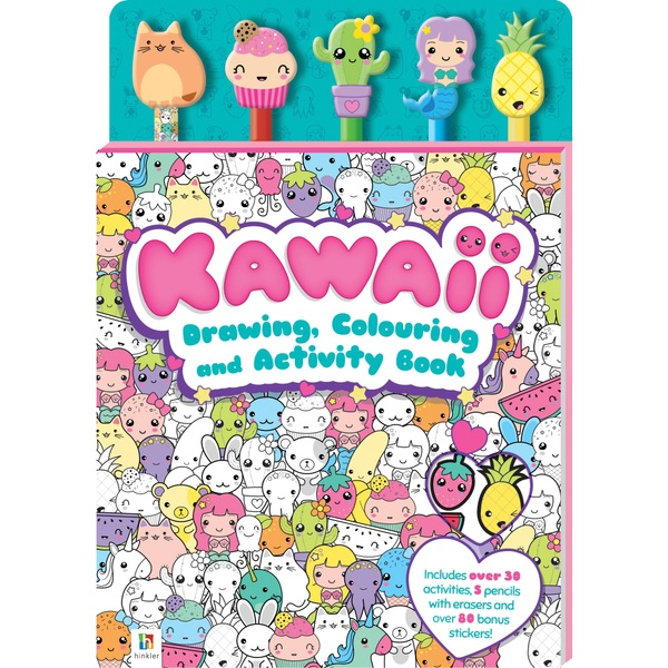 Kawaii Drawing, Colouring and Activity Book with 5 Pencils