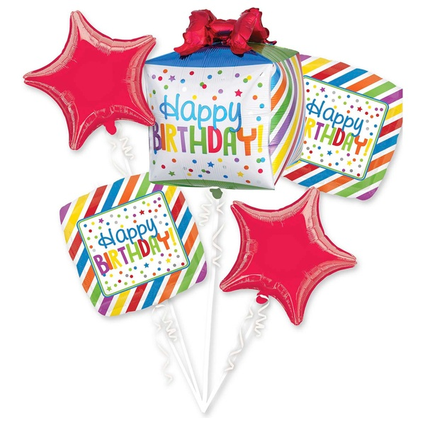 Happy Birthday Present Bouquet Foil Balloon