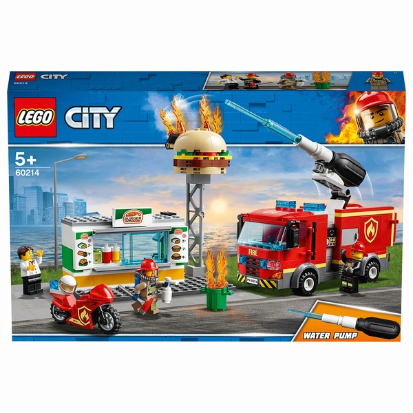 LEGO 60214 City Fire Burger Bar Fire Rescue Building Set with Fire Engine Truck