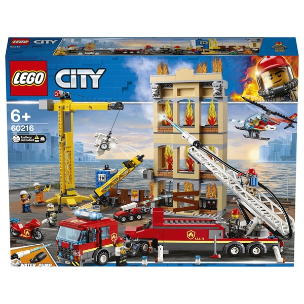 LEGO 60216 City Downtown Fire Brigade Crane Truck Copter Set