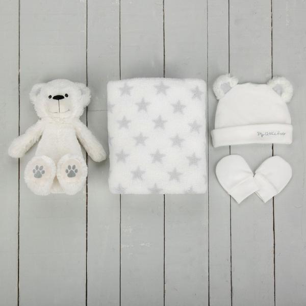 CuddleCo My First Bear & Blanket Set - White/Grey