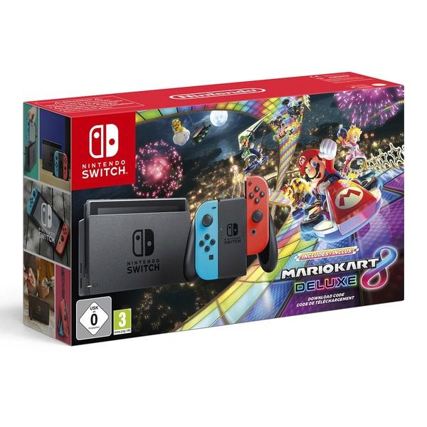 Nintendo Switch Neon & Mario Kart 8 Deluxe Bundle