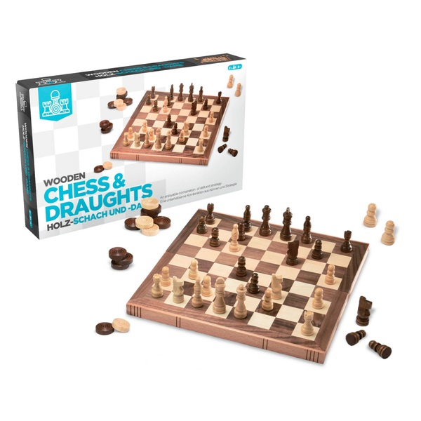 Wooden Chess and Draughts Set