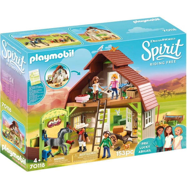 Playmobil 70118 DreamWorks Spirit Riding Free Barn - Pru, Lucky & Abigail