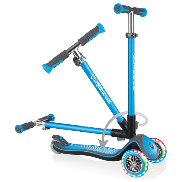 Globber ELITE DELUXE LIGHTS Sky Blue Scooter