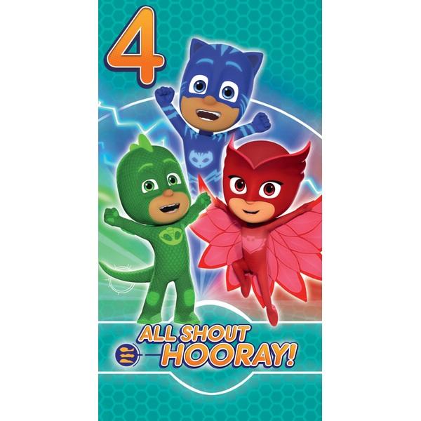 PJ Masks Birthday Card Age 4