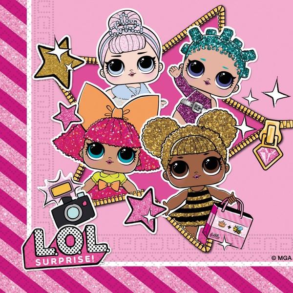 Partybedarfpartydeko - L.O.L. Surprise 20 Servietten - Onlineshop Smyths Toys