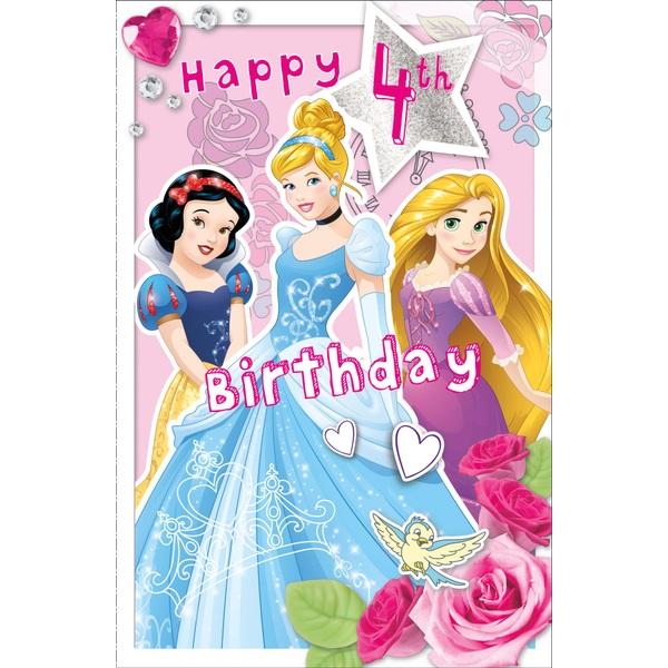 Disney Princess Birthday Card Age 4