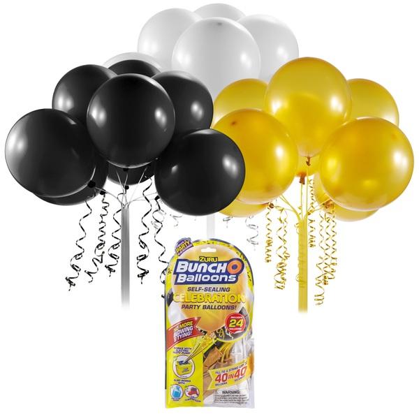 Partybedarfballons - Bunch O Balloons Party Nachfüll Pack 24 Ballons, schwarz gold weiß - Onlineshop Smyths Toys