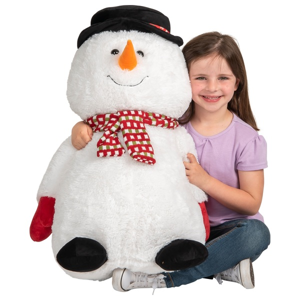 Snowman with a Plush Black and Red Hat 68cm