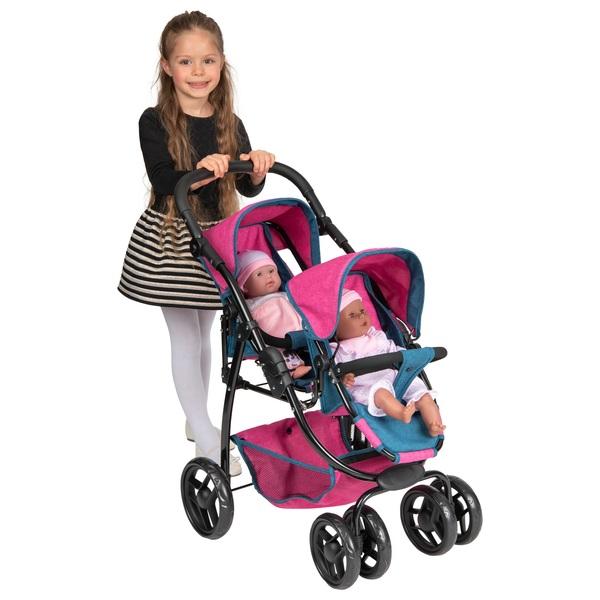 Ella Twin Doll Stroller Denim Blue & Pink