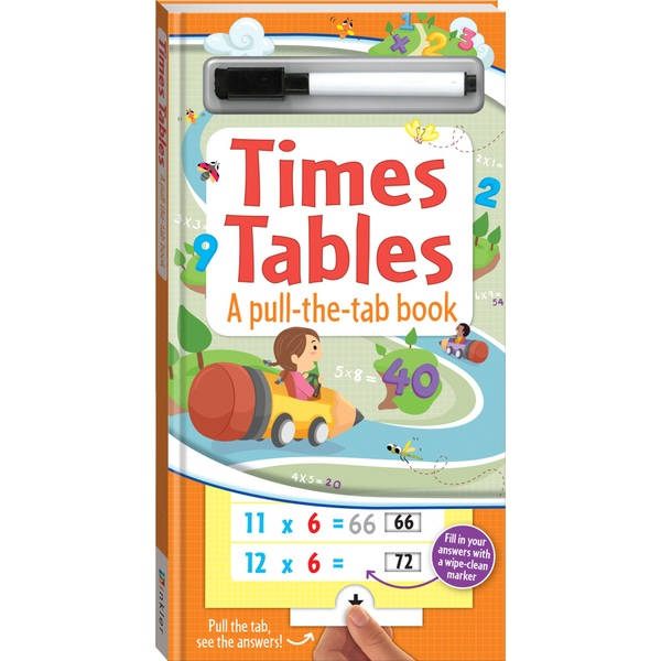Times Tables, A Pull-the-tab wipe clean book with Pen