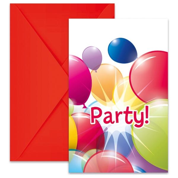 Partybedarfballons - Procos Flying Balloons, 6 Einladungskarten mit Umschlägen - Onlineshop Smyths Toys