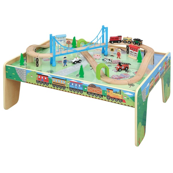Squirrel Play Wooden Train Table with 50 pieces