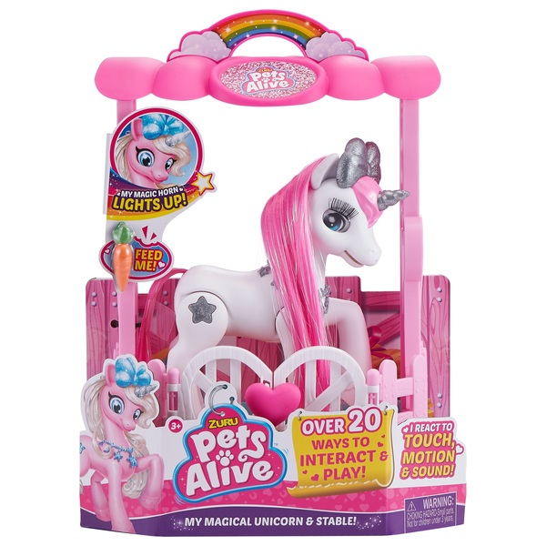 Pets Alive My Magical Unicorn and Stable Playset White