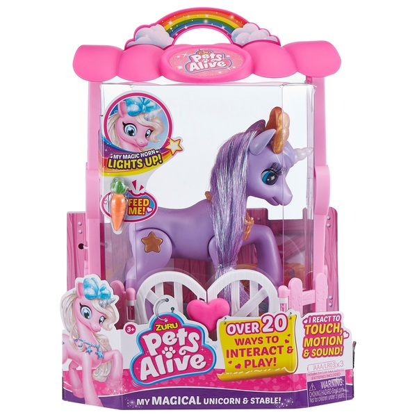 Pets Alive My Magical Unicorn and Stable Playset Purple