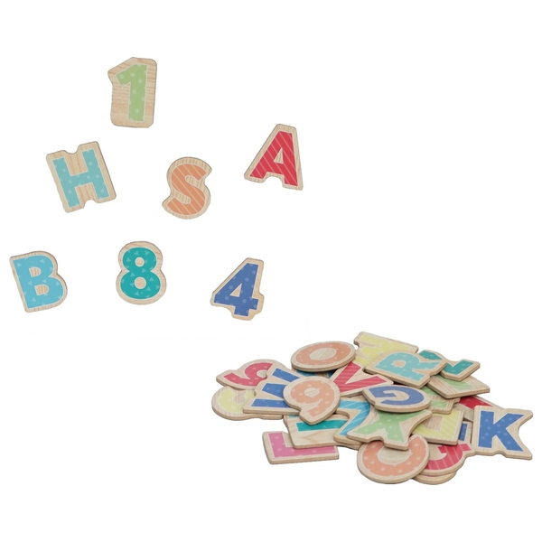 Wooden Magnetic Alphabet & Number Pieces