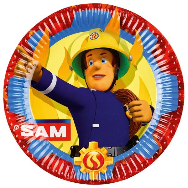 Partybedarfpartydeko - Feuerwehrmann Sam 8 Teller - Onlineshop Smyths Toys