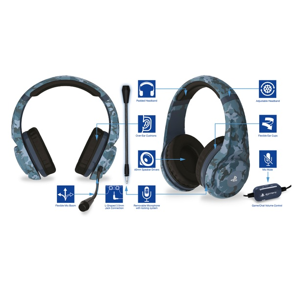 Official PS4 Wired Gaming Headset Midnight Camo Smyths Toys