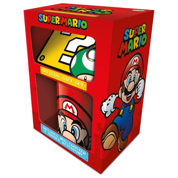 Super Mario (Mario) Mug Coaster And Keychain Set