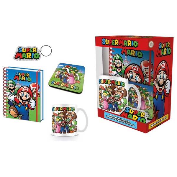 Super Mario Mug Notebook Coaster And Keychain Set
