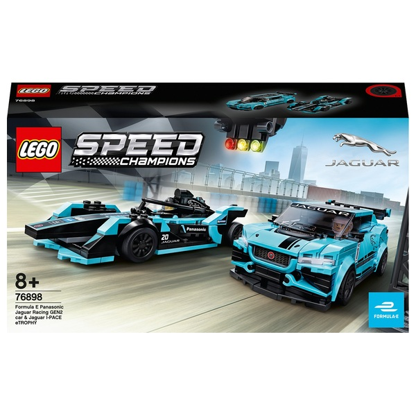 LEGO 76898 Speed Champions Formula E Panasonic Jaguar Racing GEN2 car & Jaguar I-PACE eTROPHY Cars