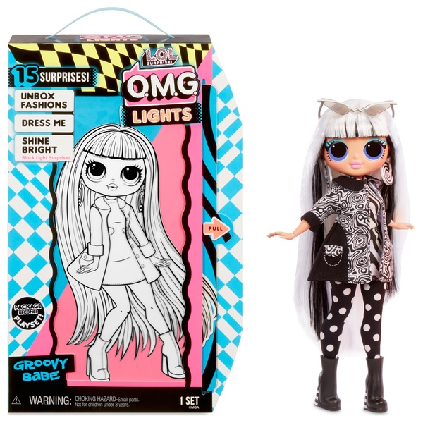 L.O.L. Surprise! O.M.G. Lights Groovy Babe Fashion Doll with 15 Surprises