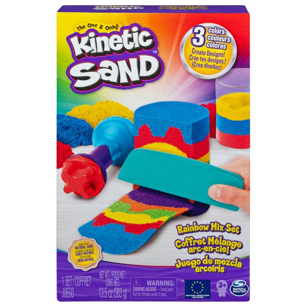 Kinetic Sand Rainbow Mix Set with 3 Colours of Kinetic Sand and 6 Tools
