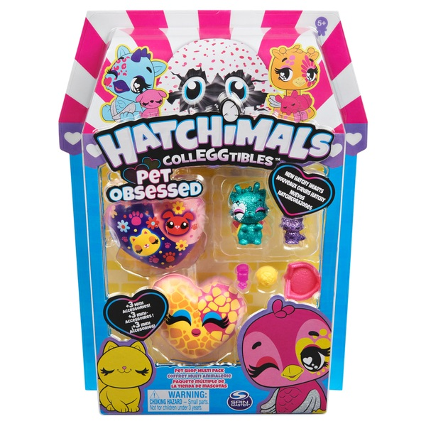Hatchimals CollEGGtibles, Pet Obsessed Pet Shop Multi-Pack with 3 CollEGGtibles
