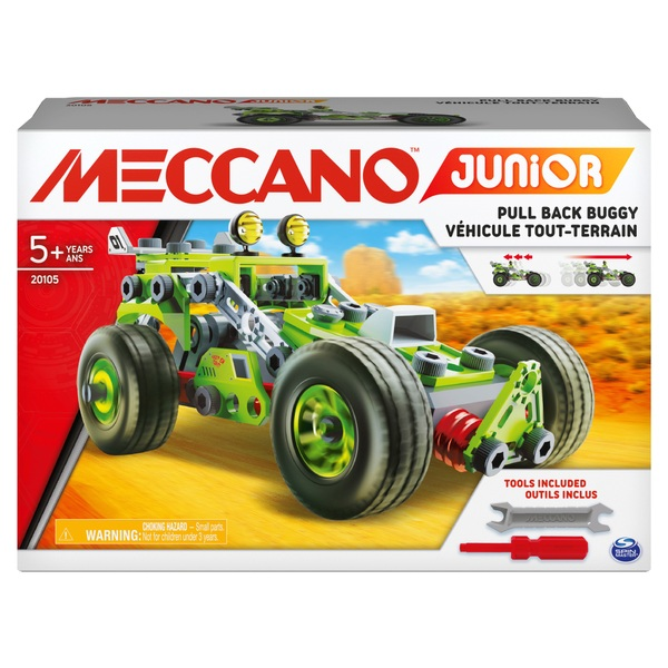 Meccano Junior 3-in-1 Deluxe Pull-Back Buggy STEAM Model Building Kit